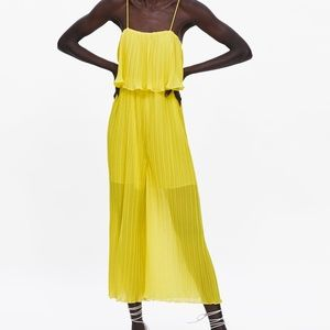ZARA PLEATED JUMPSUIT WITH STRAPS   YELLOW